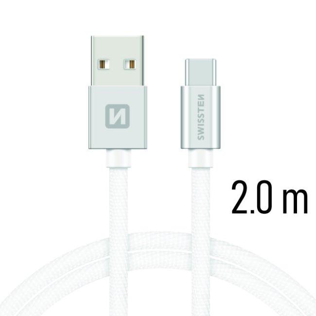 Datový kabel Swissten textilní s USB-C konektorem a podporou rychlonabíjení, Silver
