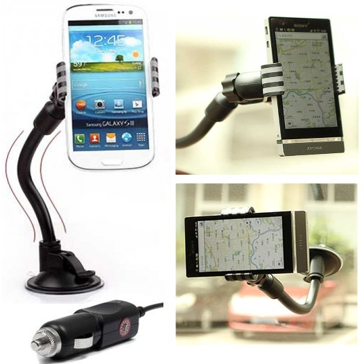 Držák do auta (délka ramene 20cm) autonabíječka pro Samsung Galaxy S Duos S7562