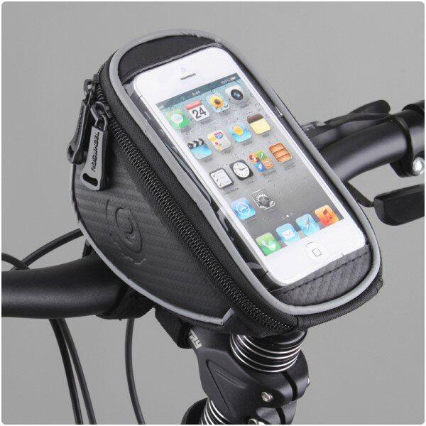 Držiak na bicykel RosWheel s brašňou (na riadidlá) pre Apple iPhone 5, Apple iPhone 5S, Apple iPhone SE