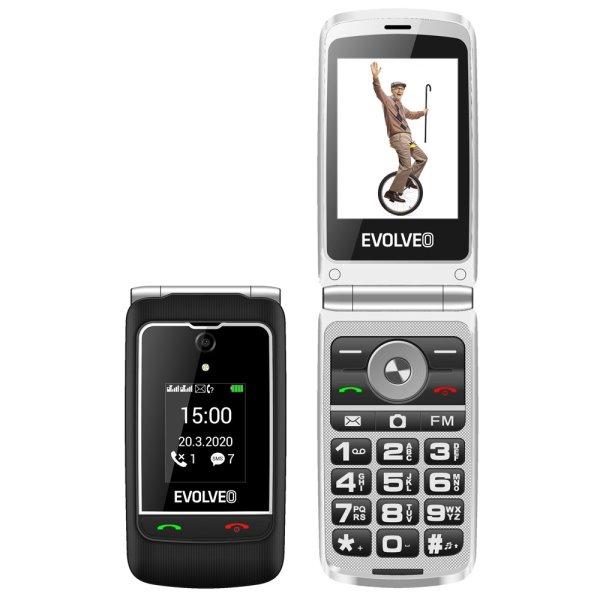 Evolveo EasyPhone FG, vyklápěcí mobilní telefon + nabíjecí stojan, černý