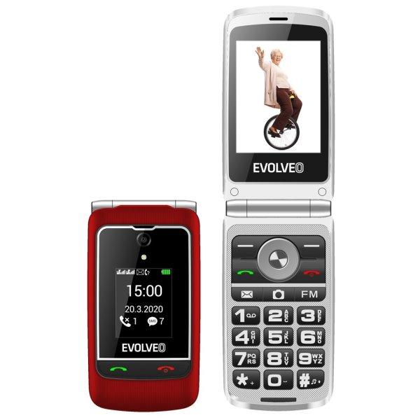 Evolveo EasyPhone FG, vyklápěcí mobilní telefon + nabíjecí stojan, červený