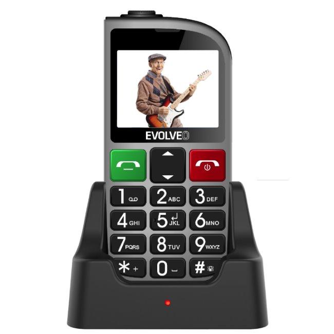 Evolveo EasyPhone FM, Grey + nabíjecí stojan-CZ distribuce