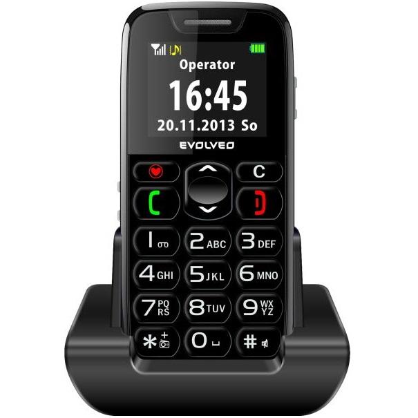 Evolveo EasyPhone, black + nabíjací stojan - SK distribúcia