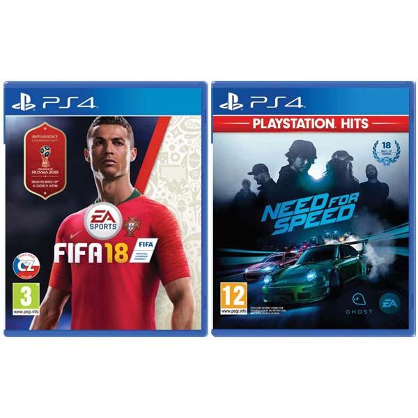 FIFA 18 CZ[PS4] + Need for Speed[PS4]-BAZAR (použité zboží) smluvní záruka 12 měsíců