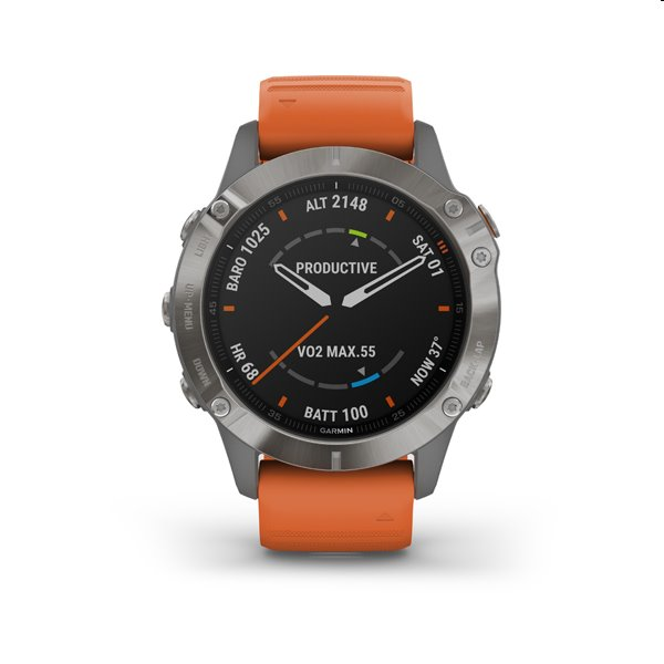 Garmin FENIX 6 Sapphire, Titanium, oranžové