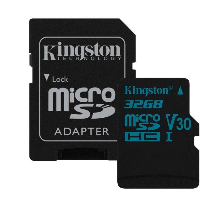 Kingston Canvas Go Micro SDHC 32GB + SD adaptér, UHS-I U3, Class 10-rychlost 90/45 MB/s (SDCG2/32GB)