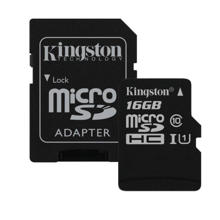 Kingston Canvas Select Micro SDHC 16GB + SD adaptér, UHS-I U1, Class 10 - rýchlosť 80 MB/s (SDCS/16G