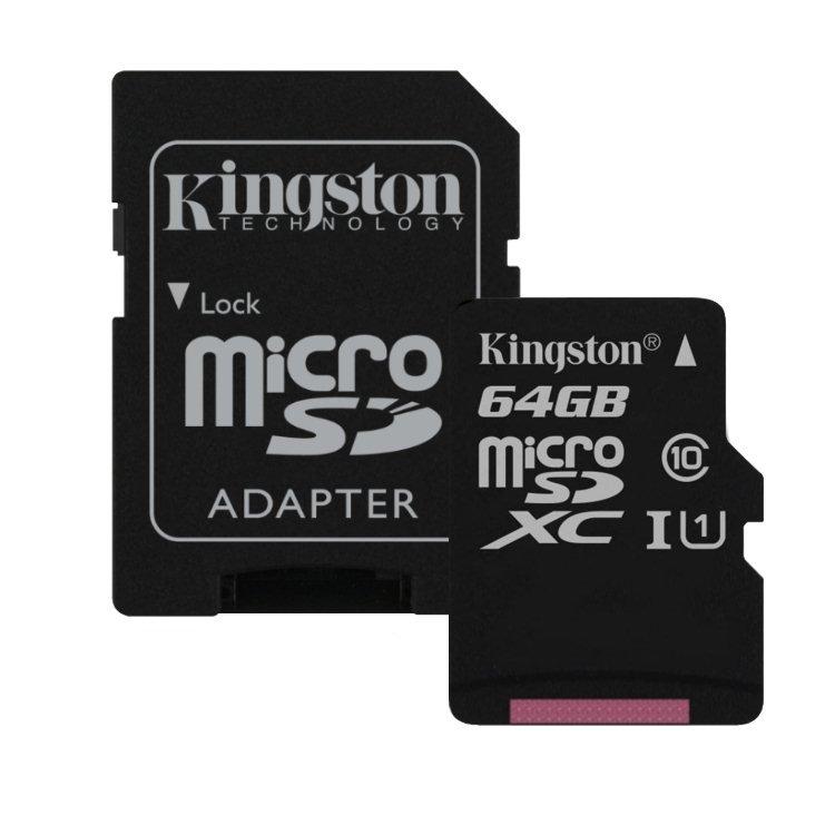Kingston Canvas Select Micro SDXC 64GB + SD adaptér, UHS-I U1, Class 10 - rýchlosť 80 MB/s (SDCS/64GB)
