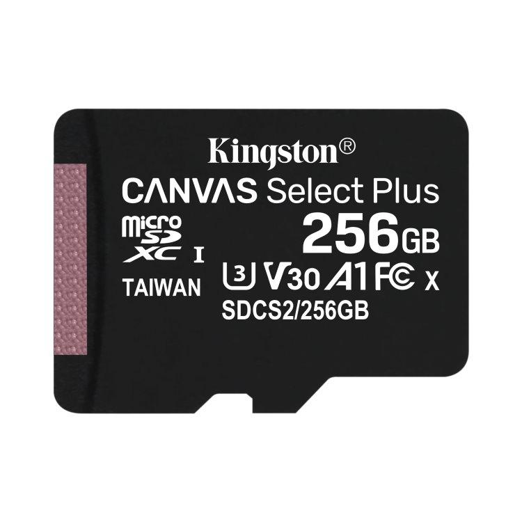 Kingston Canvas SeIect Plus Micro SDXC 256GB, UHS-I A1, Class 10 - rýchlosť 100/85 MB/s