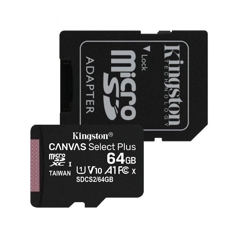 Kingston Canvas SeIect Plus Micro SDXC 64GB + SD adaptér, UHS-I A1, Class 10-rychlost 100 MB/s (SDCS