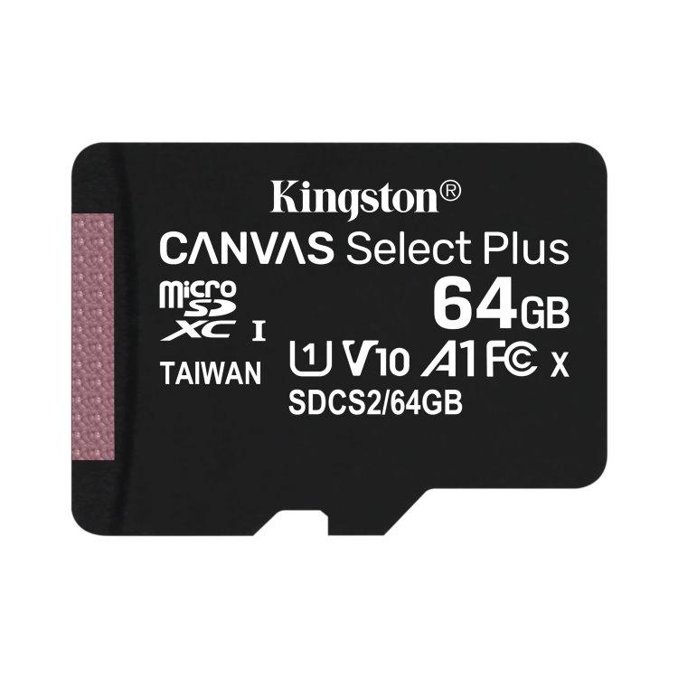 Kingston Canvas SeIect Plus Micro SDXC 64GB, UHS-I A1, Class 10 - rýchlosť 100 MB/s