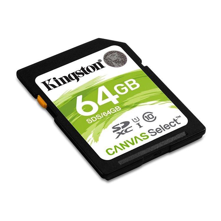 Kingston Canvas SeIect Secure Digital SDXC UHS-I 64GB | Class 10, rychlost až 80MB/s (SDS/64GB)