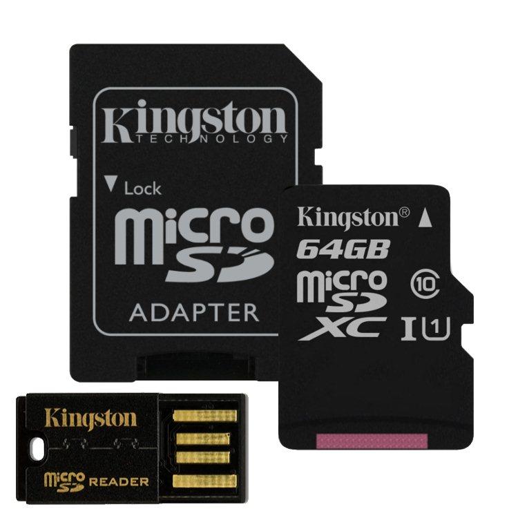 Kingston Micro SDXC 64GB, Class 10-rychlost 30 MB/s adaptér USB čtečka