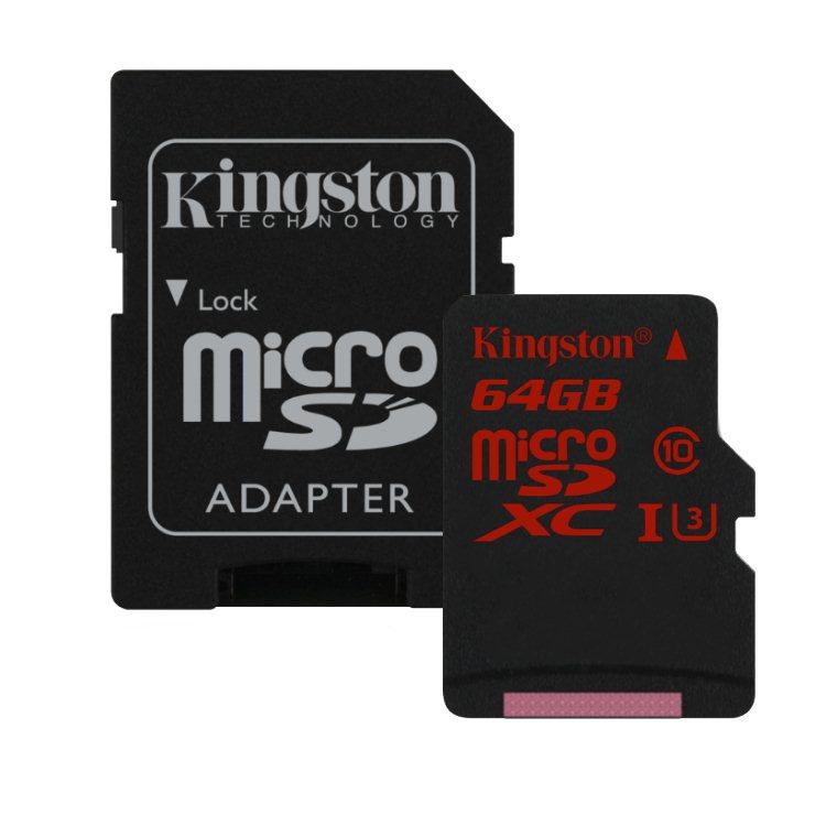 Kingston Micro SDHC 64 GB SD adaptér, U3-rychlost až 90 MB/s