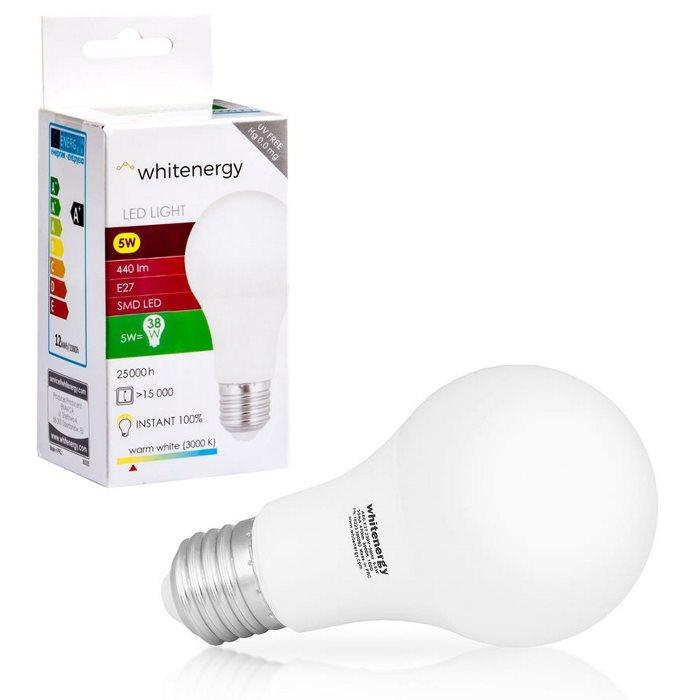 LED žárovka WhiteEnergy, E27, 5W-440 lm, Teplá bílá-3000K