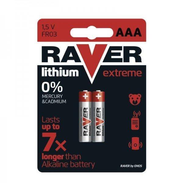 Lithiová mikrotužková baterie AAA, RAVER Extreme, 2 kusy