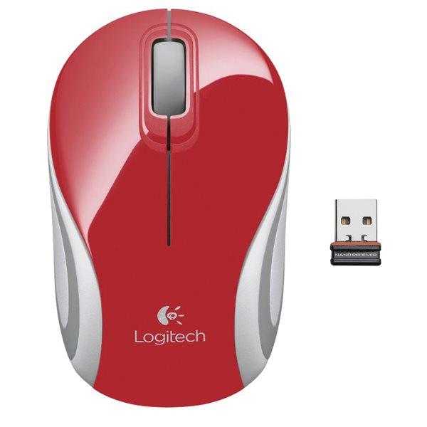 Kancelářská myš Logitech Wireless Mini Mouse M187, red