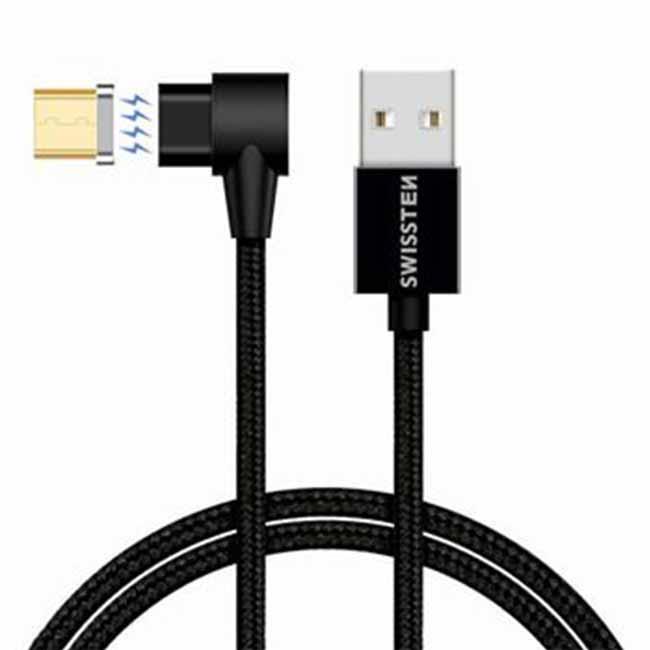 Magnetický datový kabel Swissten Arcade textilní s Micro USB konektorem a podporou rychlonabíjení, Black