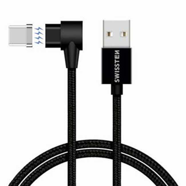 Magnetický datový kabel Swissten Arcade textilní s USB-C konektorem a podporou rychlonabíjení, Black