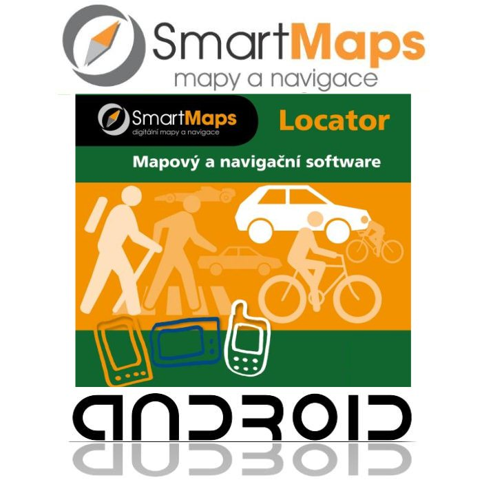 Navigace pro Android-Smart Maps Locator-cykloturistická mapa Slovenska a Česka-1:75 000