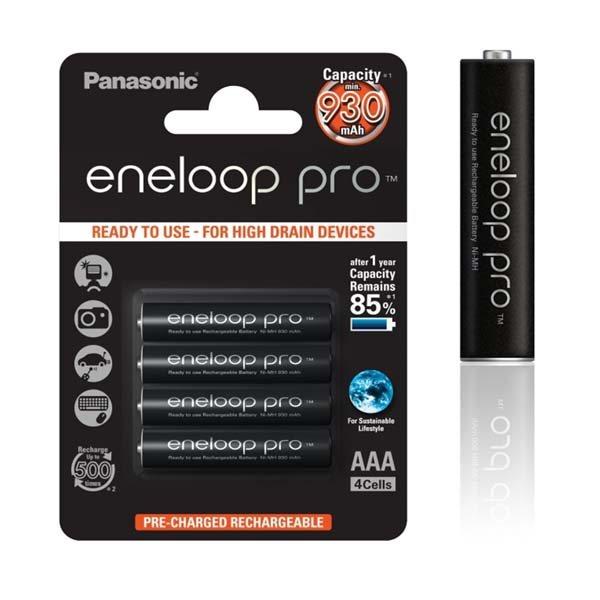 Nabíjecí mikrotužková baterie AAA, Panasonic Eneloop NiMh 1,2V 930mAh BL4, 4 kusy