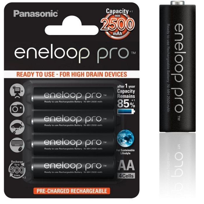Nabíjecí tužková baterie AA, Panasonic Eneloop Pro, NiMh 1,2V 2500mAh BL4, 4 kusy