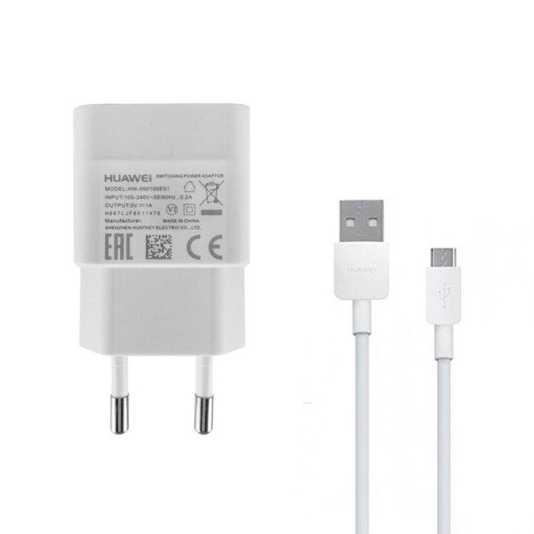 Nabíječka Huawei HW-050100E01W USB + nabíjecí kabel microUSB, White