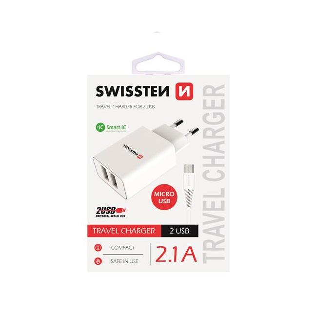 Nabíječka Swissten Smart IC 2.1A s 2 USB konektory a datovým kabelem USB/Micro USB, 1,2m, bílá