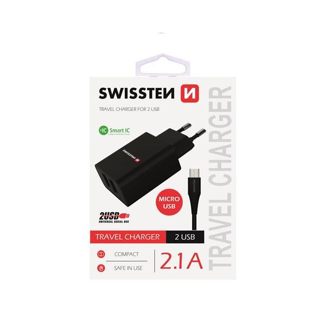 Nabíječka Swissten Smart IC 2.1A s 2 USB konektory a datovým kabelem USB/Micro USB, 1,2m, černá