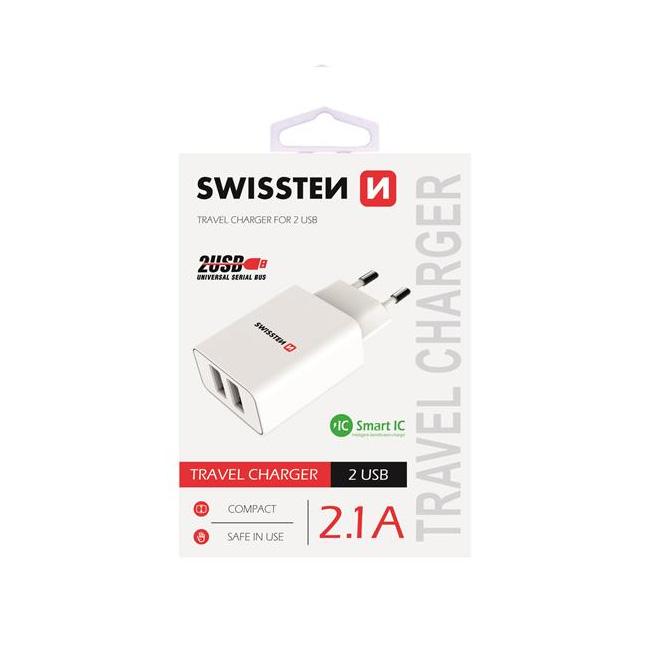 Nabíječka Swissten Smart IC 2.1A s 2 USB konektory, bílá