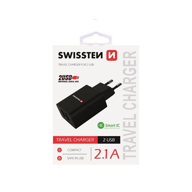 Nabíječka Swissten Smart IC 2.1A s 2 USB konektory, černá