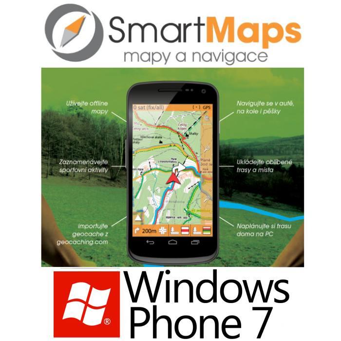 Navigace pro Windows Phone 7-Smart Maps Navigator-auto, cyklo a turistická mapa SR a ČR