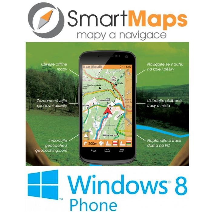 Navigace pro Windows Phone 8-Smart Maps Navigator-auto, cyklo a turistická mapa SR a ČR