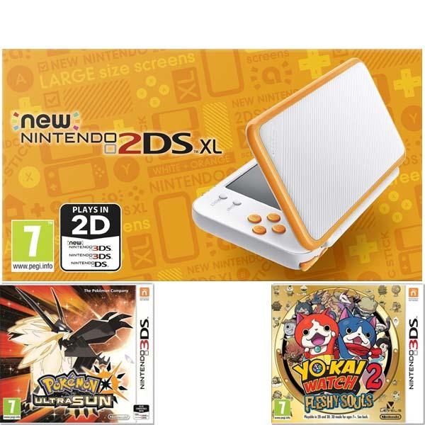 Nintendo 2DS XL, white and orange + Pokémon Ultra Sun + Yo-Kai Watch 2: Flesh Souls