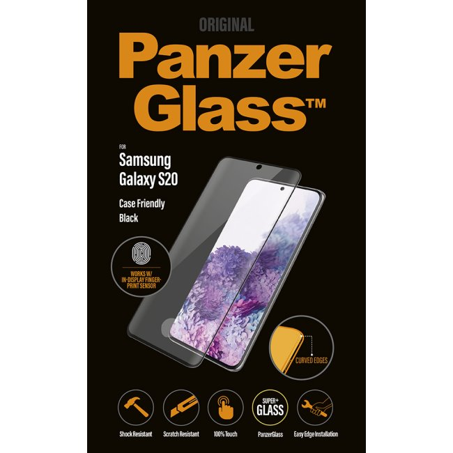 Ochranné temperované sklo PanzerGlass Case Friendly pro Samsung Galaxy S20-G980F, Fingerprint komp., Black