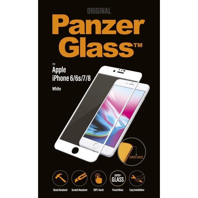 Ochranné temperované sklo PanzerGlass Curved Edges pro Apple iPhone 6/6S/7/8, bílé