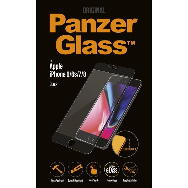 Ochranné temperované sklo PanzerGlass Curved Edges pro Apple iPhone 6/6S/7/8, černé