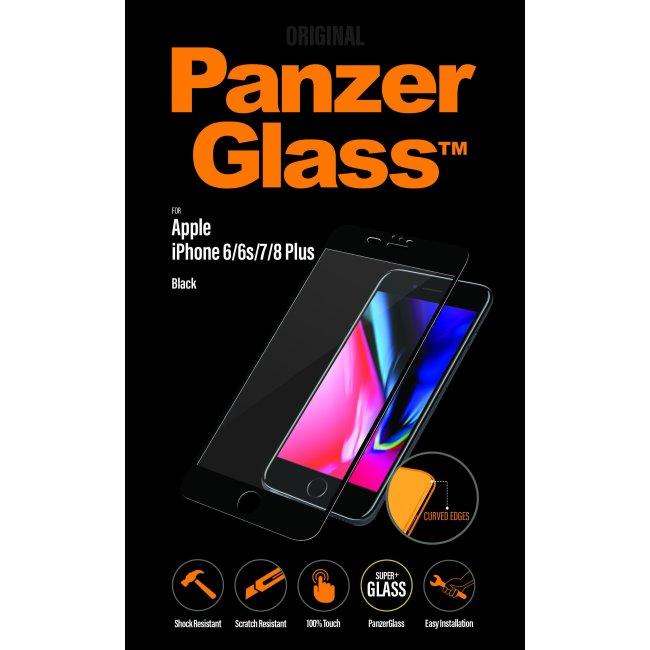 Ochranné temperované sklo PanzerGlass Curved Edges pro Apple iPhone 6 Plus/6S Plus/7 Plus/8 Plus, černé