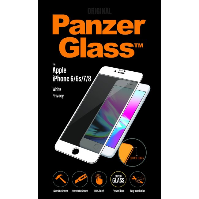 Ochranné temperované sklo PanzerGlass Curved Edges s privátním filtrem pro Apple iPhone 6/6S/7/8, bílé