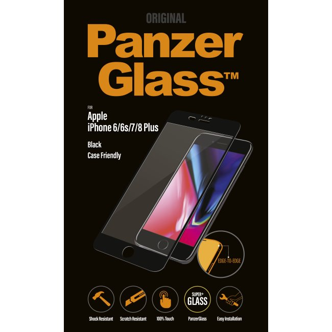 Ochranné temperované sklo PanzerGlass na celý displej pro Apple iPhone 6 Plus/6S Plus/7 Plus/8 Plus, černé