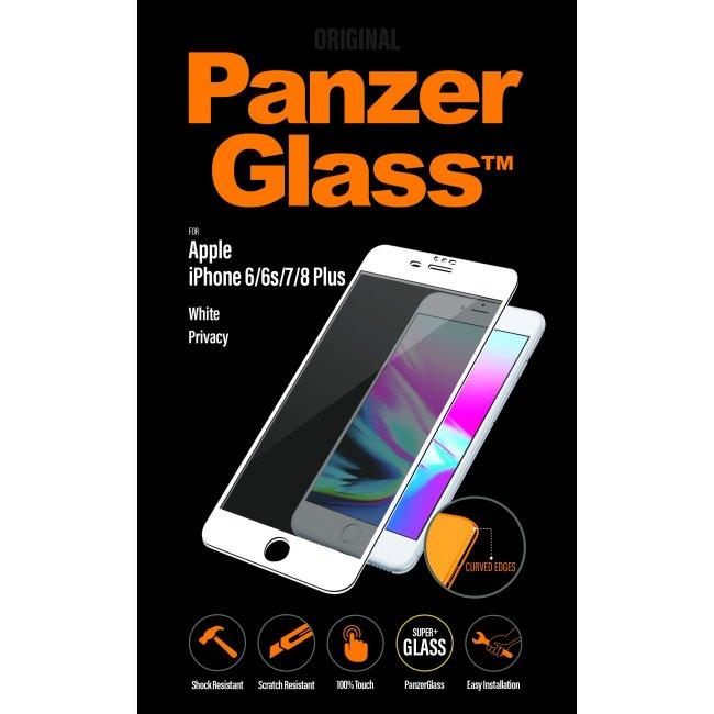 Ochranné temperované sklo PanzerGlass s privátním filtrem pro Apple iPhone 6/6S/7/8 Plus, bílé