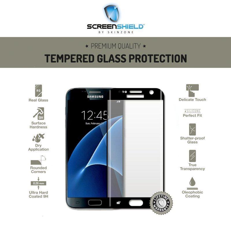 Ochranné temperované sklo Screenshield 3D pro Samsung Galaxy S7 Edge-G935F, Black-Doživotní záruka