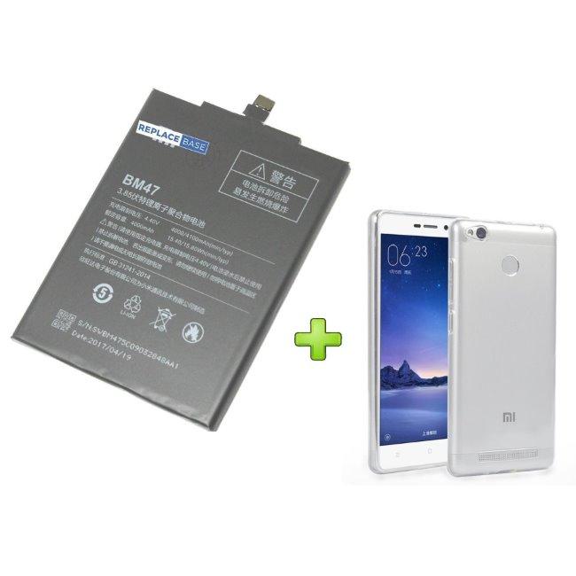 Originální baterie pro Xiaomi RedMi 3 a RedMi 3S, (4000 mAh) + pouzdro v hodnotě 4.99 EUR