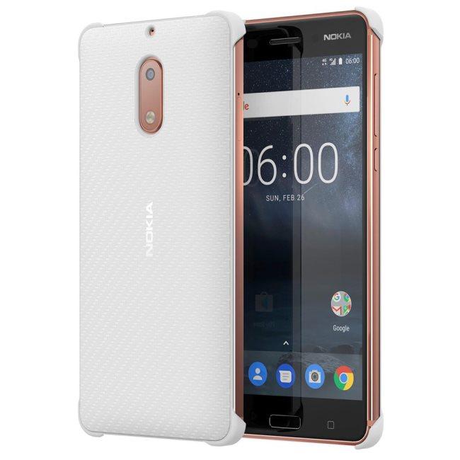Originální pouzdro Nokia Carbon Fibre CC-802 pro Nokia 6, Pearl White