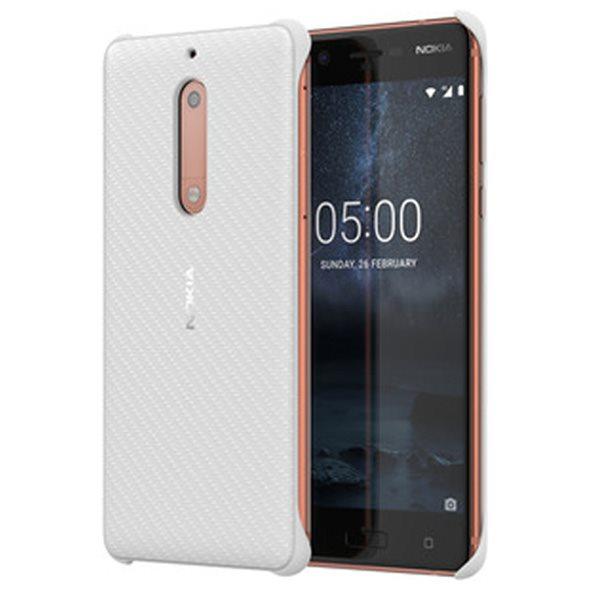Originální pouzdro Nokia Carbon Fibre CC-803 pro Nokia 5, Pearl White