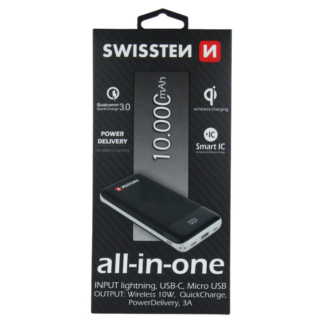 PowerBank Swissten All-In-One 10.000 mAh, černý