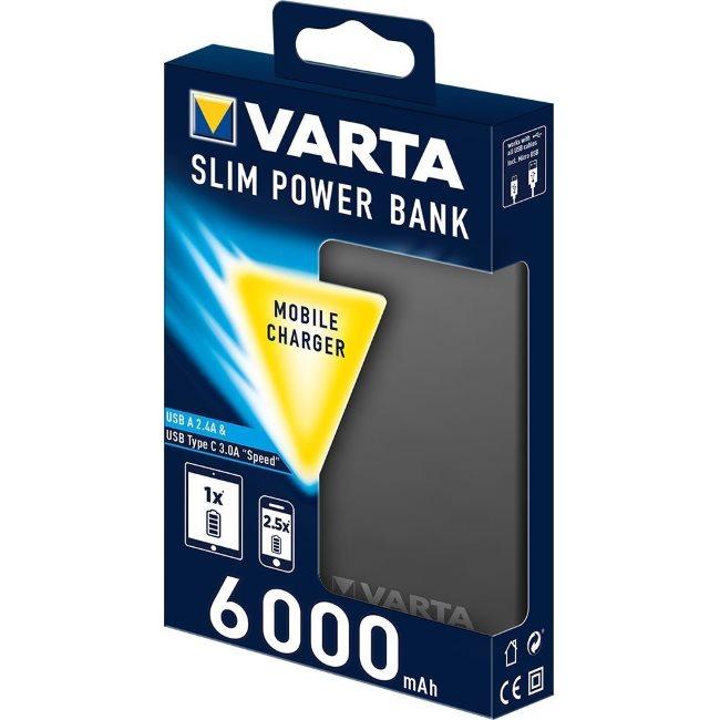 PowerBank VARTA Slim-6000 mAh, Black