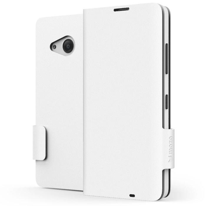 Prémiové Knižková kožené pouzdro mozo pro Microsoft Lumia 550, White