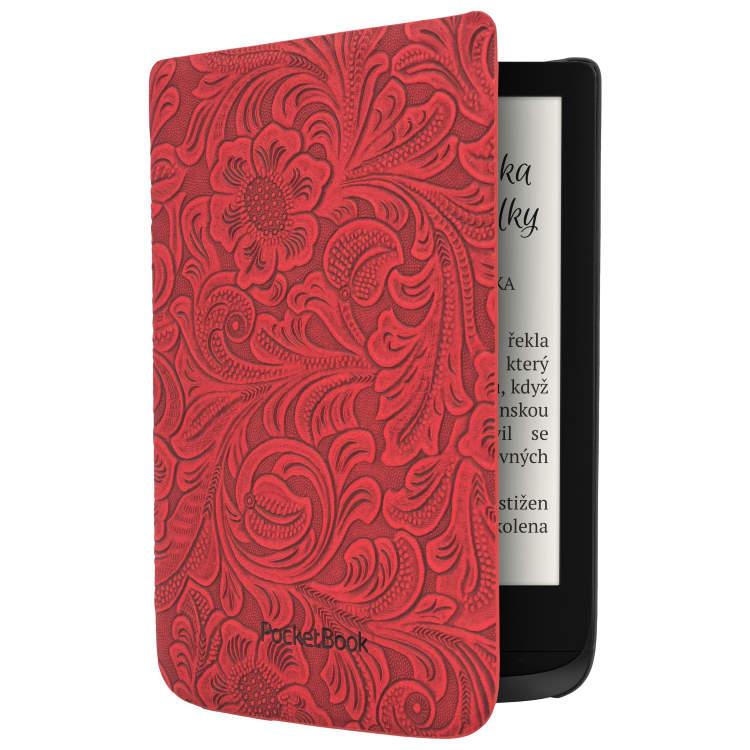 Pouzdro originální-květinový vzor pro Pocketbook 616, 627, 628, 632 a 633, Red