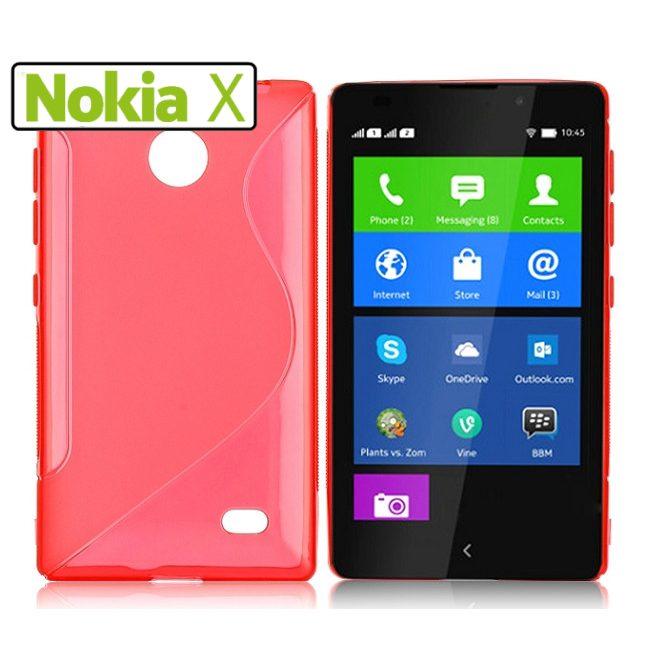 Pouzdro silikonové S-TYPE pro Nokia X a Nokia X, Red